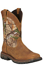 Ariat Conquest Men's Brush Brown with Camo Top Square Toe Waterproof Boots