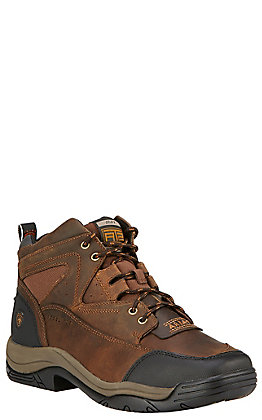 Ariat Men's Terrain Brown Lace Up Steel Square Toe Work Boot