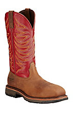 Ariat Workhog Men's Distressed Brown with Red Top Composite Square Toe  Western Work Boots