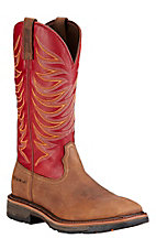 Ariat Workhog Men's Distressed Brown with Red Top Square Toe Western Work Boots