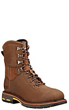 Ariat Men's Distressed Brown WorkHog Lace Up Waterproof Square Composite Toe Work Boot