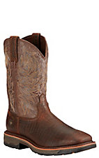 Ariat Workhog Men's Brown Croc Print with Crackled Taupe Top Square Toe Western Work Boots