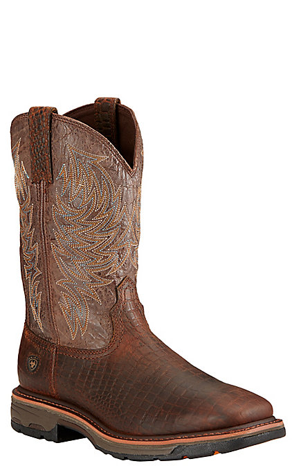 6ab7680f4e9 Ariat Workhog Men's Brown Croc Print with Crackled Taupe Top Square Toe  Western Work Boots