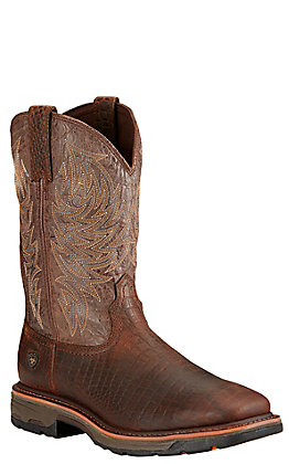 Ariat Men's WorkHog Brown Crocodile Print and Crackled Taupe Square Toe Work Boot