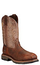 Ariat Workhog Men's Brown Croc Print with Crackled Taupe Top Composite Square Toe Western Work Boots