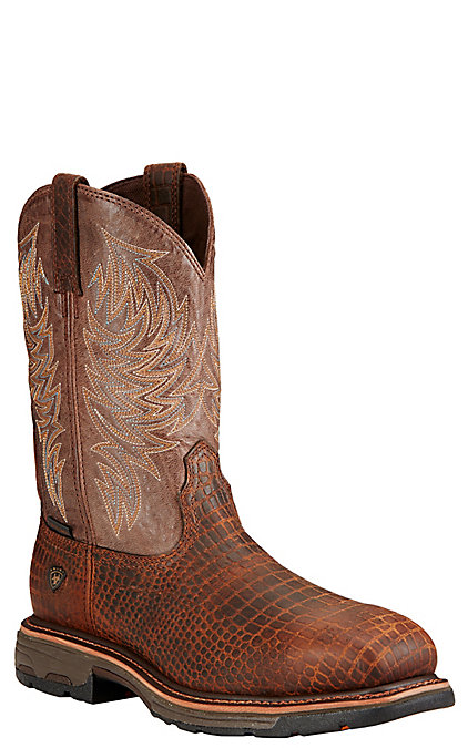 b24a4fffea9 Ariat WorkHog Men's Brown Croc Print Wide Square Composite Toe Work Boots