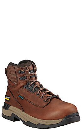 """Ariat MasterGrip Men's Brown Waterproof Composite Toe 6"""" Lace Up Work Boots"""