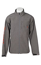 Ariat Men's Charcoal with Orange Embroidered Logos Bonded Long Sleeve Jacket