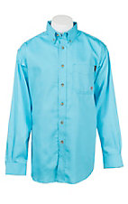 Ariat Men's Work Fire Resistant Solid Turquoise Long Sleeve Woven Work Shirt