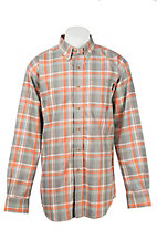 Ariat Men's Work Fire Resistant Orange and Grey Edmond Plaid Woven Work Shirt