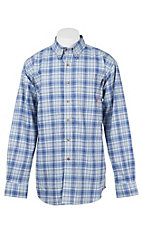 Ariat Men's Work Fire Resistant Blue and White Norman Plaid Woven Work Shirt