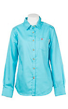Ariat Women's Work Fire Resistant Solid Turquoise Long Sleeve Woven Work Shirt