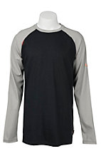Ariat Work FR Men's Black and Grey HRC2 Crew Neck Long Sleeve Flame Resistant Shirt