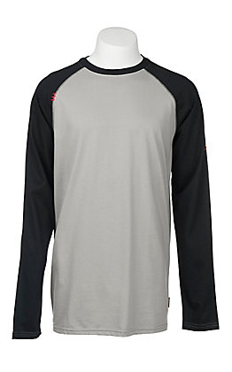 5ab44689 Ariat Work FR Men's Grey with Black Sleeves HRC2 Crew Neck Long Sleeve  Flame Resistant Shirt