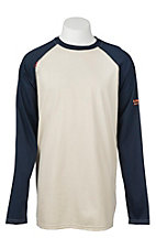 Ariat Work FR Men's Navy and Sand HRC2 Crew Neck Long Sleeve Flame Resistant Shirt