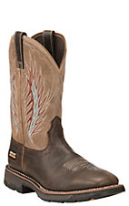 Ariat Men's Chocolate with Tan Upper Square Toe Work Boot
