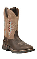 Ariat Men's Chocolate with Tan Upper Composite Square Toe Work Boot