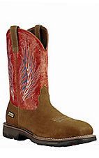Ariat Men's Brown with Fire Upper Compound Square Toe Work Boot