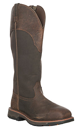 Ariat Men's WorkHog Distressed Brown Waterproof Square Composite Toe Snake Boot