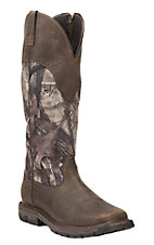 Ariat Men's Brown with Camo Waterproof Snake Proof Square Toe Work Boots