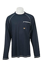 Ariat Rebar Men's Sunstopper Navy Light Mesh Long Sleeve Work Shirt