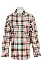 Ariat FR Men's Lake Retro Coffee Bean Plaid Work Snap Shirt