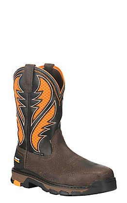 Ariat Men's Intrepid Brown and Orange VentTEK Square Composite Toe Work Boot