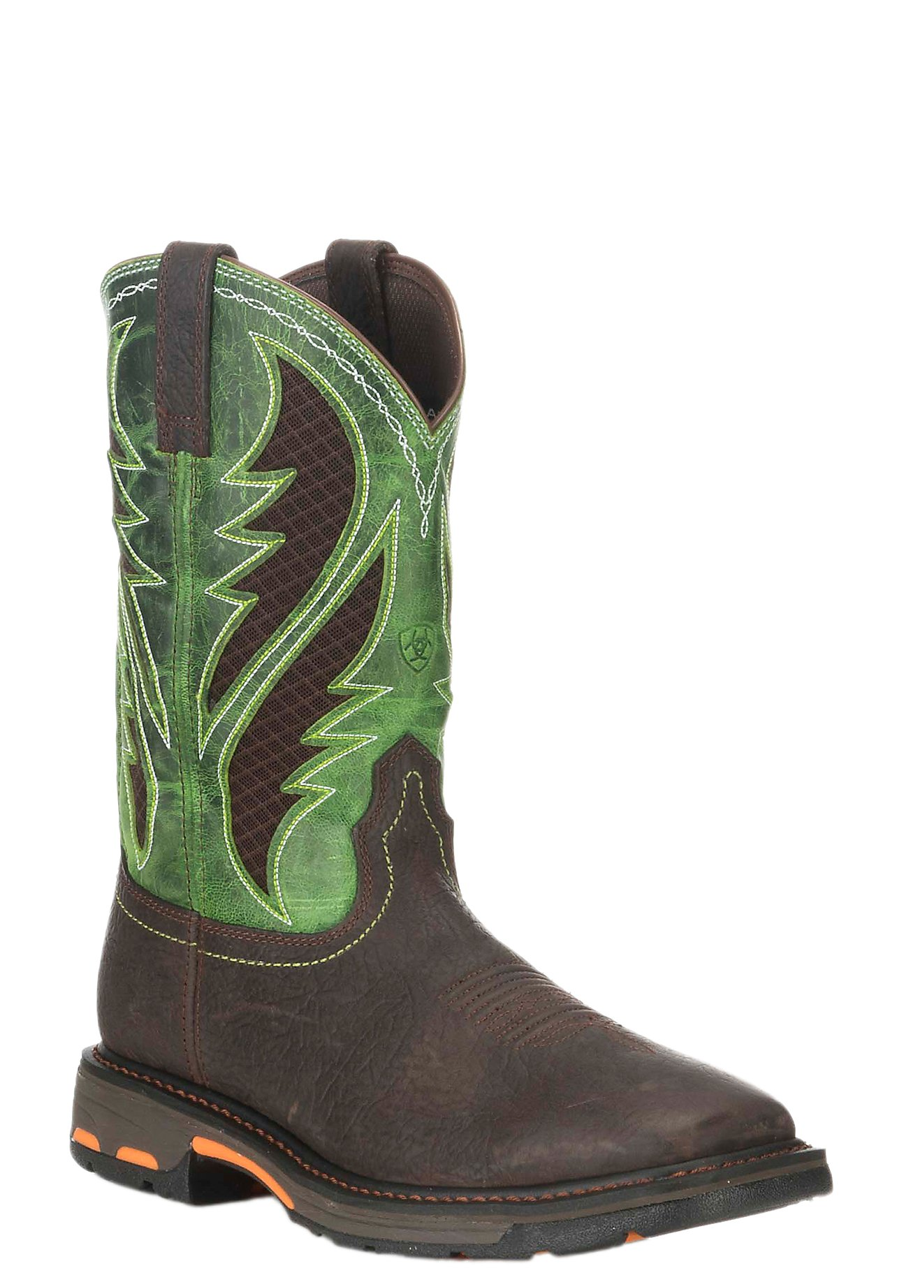 Ariat VentTek Men's Workhog Brown with Lime Green Workhog Square Toe Work  Boots