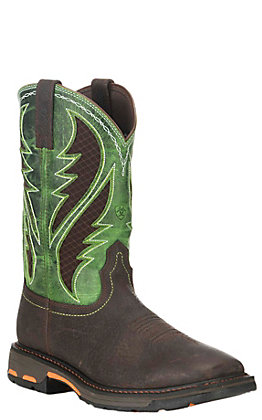 Ariat Men's WorkHog Brown and Lime VentTEK Wide Square Toe Work Boot