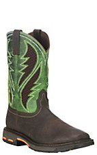 Ariat Work Men's Workhog Brown with Lime Green Details Vent Tek Square Composite Toe Work Boots