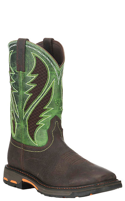 04f1773c778 Ariat WorkHog VentTek Men's Brown and Lime Green Wide Square Composite Toe  Work Boots