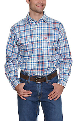 Ariat FR Men's Karnes Blue Multi Plaid Work Snap Shirt