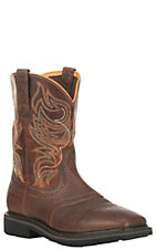 Ariat Work Men's Rebar Sierra Shadowland Brown with Orange Square Toe Work Boots