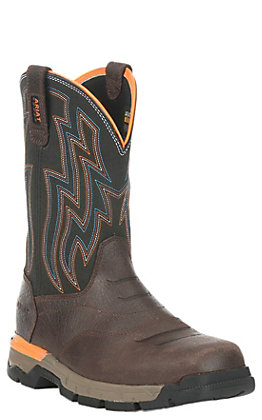 Ariat Rebar Flex Men's Chocolate Brown Wide Square Soft Toe Work Boots