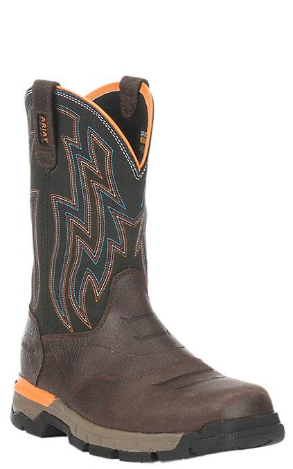 b677b95449a Ariat Work Men's Rebar Flex Chocolate Brown Square Composite Toe Work Boots