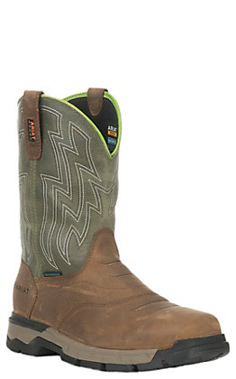 Ariat Men's Rebar Flex Brown and Olive Waterproof Wide Square Composite Toe Work Boot