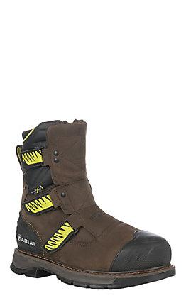 """Ariat Catalyst VX Men's Brown Waterproof Round Composite Toe 8"""" Zip and Velcro Work Boots"""