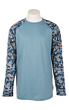Ariat Men's Blue with Digi Camo FR Baseball Long Sleeve T-Shirt