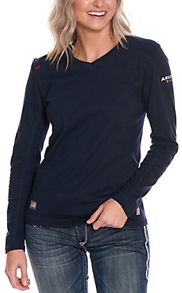 Ariat Work FR Women's Navy HRC2 Polartec Long Sleeve Flame Resistant Shirt