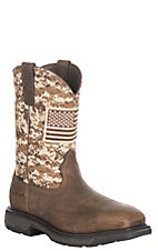 Ariat Men's Workhog Patriot Earth and Sand Steel Square Toe Work Boot