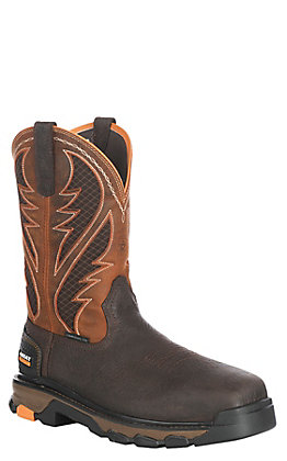 Ariat Men's Intrepid VentTEK Brown and Orange Composite Square Toe Work Boot