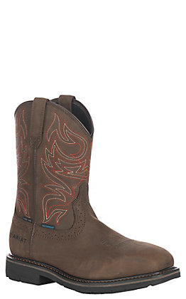 Ariat Men's Sierra Delta Oily Distressed Brown Waterproof Wide Square Steel Toe Work Boot