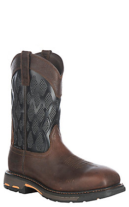 Ariat Men's WorkHog Brown and Charcoal VentTEK Wide Square Composite Toe Work Boot