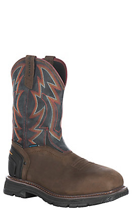 Ariat Men's Catalyst Thunder Oily Distressed Brown Waterproof Wide Square Composite Toe Work Boot