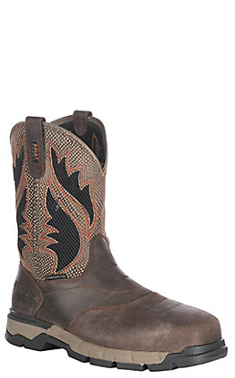 58025e0b1a6c6 Ariat Rebar Flex Men's VentTEK Chocolate Brown Wide Square Composite Toe Western  Work Boots