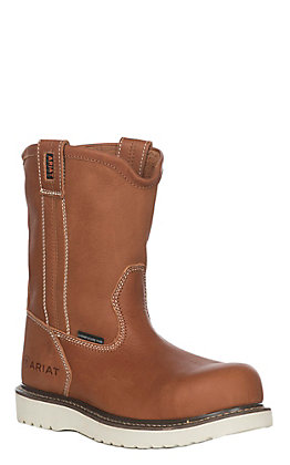Ariat Men's Rebar Golden Grizzly Wedge Round Composite Toe Work Boot