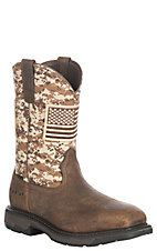Ariat Men's Workhog Patriot Earth and Sand Square Toe Work Boot