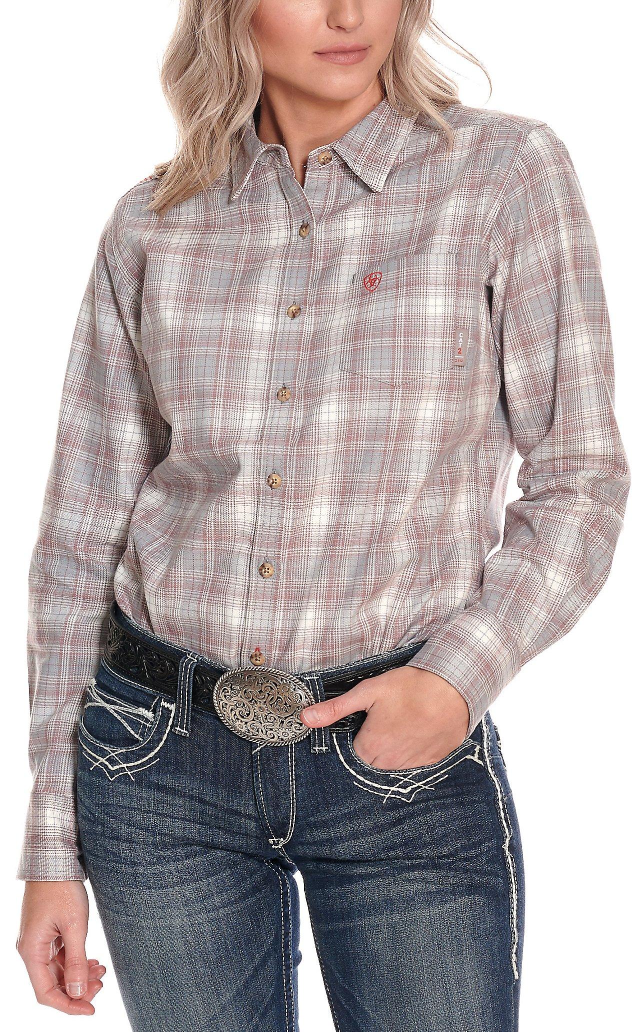 Ariat Womens Jolene Grey And Mauve Plaid Long Sleeve Fr Work Shirt