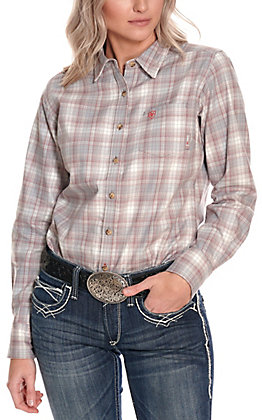 Ariat Women's Jolene Grey and Mauve Plaid Long Sleeve FR Work Shirt