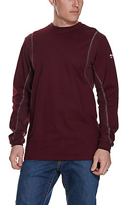 Ariat Men's AC Crew Malbec Wine FR Long Sleeve Work T-Shirt